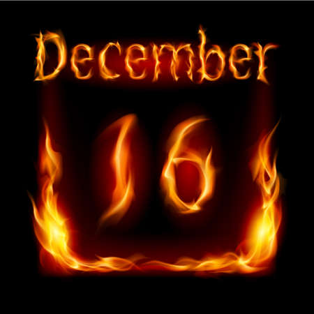 calendario diciembre: Decimosexta diciembre en el Calendario de Fuego. Icono en el fondo negro