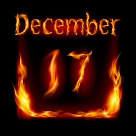 seventeenth: Seventeenth December in Calendar of Fire. Icon on black background