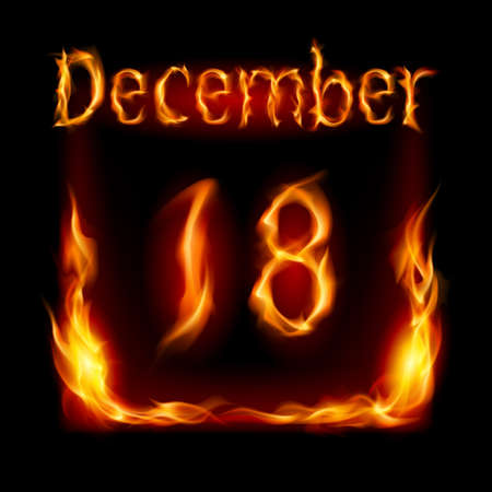 urgently: Eighteenth December in Calendar of Fire. Icon on black background