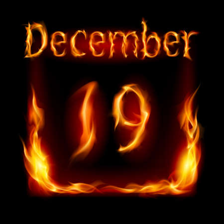 Nineteenth December in Calendar of Fire. Icon on black background Stock Vector - 16954860