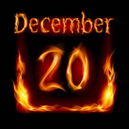 Twentieth December in Calendar of Fire. Icon on black background Stock Vector - 16955030