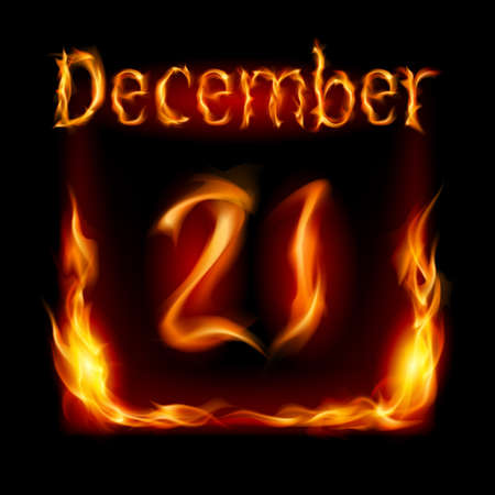 urgently: Twenty-first December in Calendar of Fire. Icon on black background