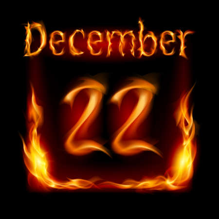 Twenty-second December in Calendar of Fire. Icon on black background Stock Vector - 16955023