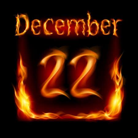 Twenty-second December in Calendar of Fire. Icon on black background Stock Vector - 16955023