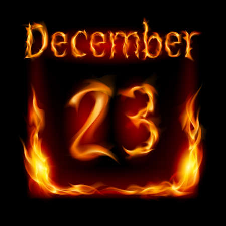 urgently: Twenty-third December in Calendar of Fire. Icon on black background Illustration