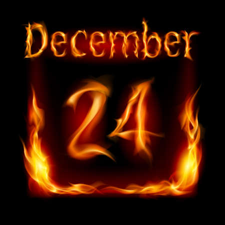 urgently: Twenty-fourth December in Calendar of Fire. Icon on black background