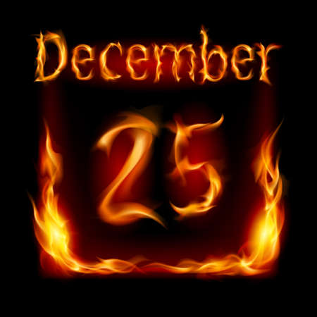 Twenty-fifth December in Calendar of Fire. Icon on black background Stock Vector - 16955028