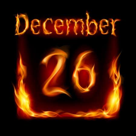 urgently: Twenty-Sixth December in Calendar of Fire. Icon on black background