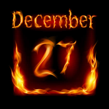 urgently: Twenty-seventh December in Calendar of Fire. Icon on black background Illustration