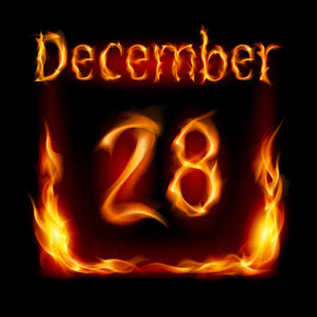 urgently: Twenty-eighth December in Calendar of Fire. Icon on black background