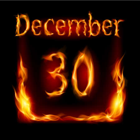 urgently: Thirtieth December in Calendar of Fire. Icon on black background Illustration
