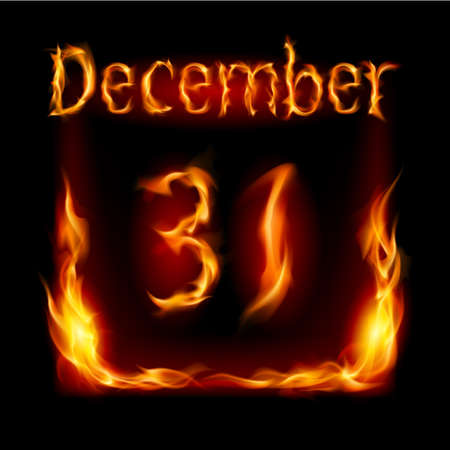 Thirty-first December in Calendar of Fire. Icon on black background Vector