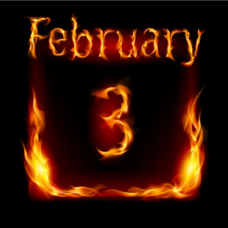 cutoff date: Third February in Calendar of Fire. Icon on black background