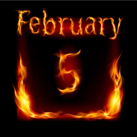 fifth: Fifth February in Calendar of Fire. Icon on black background Illustration