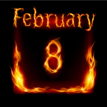 eighth: Eighth February in Calendar of Fire. Icon on black background