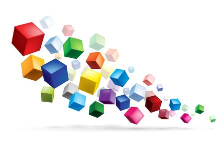 Cubes in various combinations. Abstract illustration for design Vector