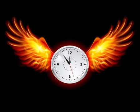 fun at work: Clock with fire wings. Illustration on black background