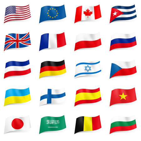Set World flags icons. Illustration on white Vector