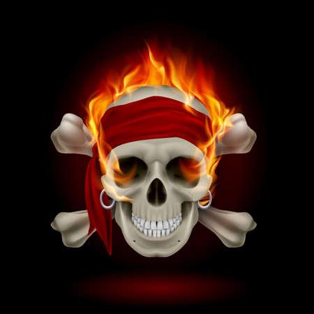 skull tattoo: Pirate Skull in Flames. Illustratie op zwarte