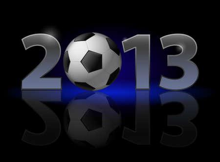 twenty thirteen: Twenty Thirteen Year. Football. Illustration on black background