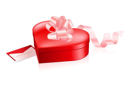 Red box in heart shape with letter Vector