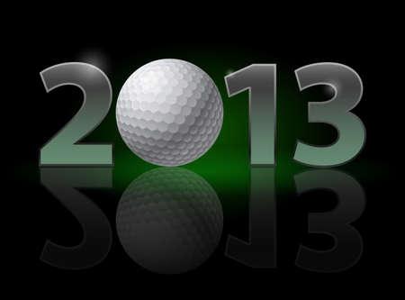 twenty thirteen: Twenty Thirteen Year. Golf Ball. Illustration on black background Illustration