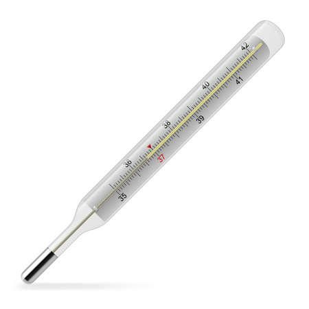sick malady: Close-up of a mercury thermometer. Illustration on white Illustration
