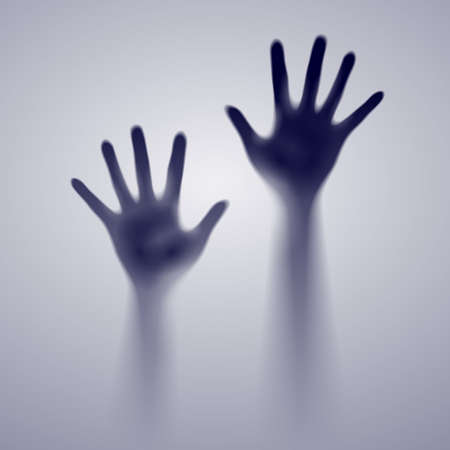 two way: Two open hands in the gray mist. Illustration of designer Illustration