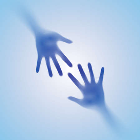 Helping Hand in the fog. Illustration on blue background Stock Vector - 16955099
