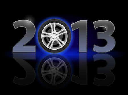 twenty thirteen: Twenty Thirteen Year. Car wheel. Illustration on black background