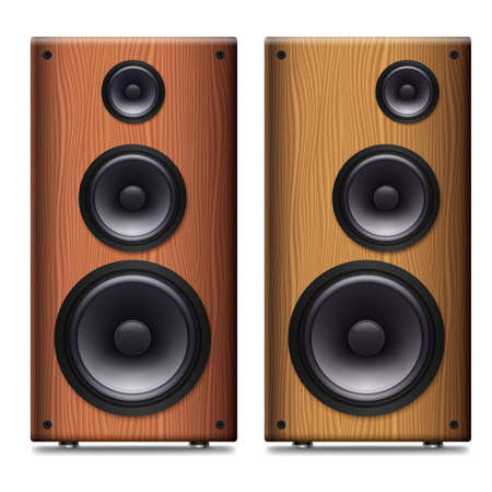 two party system: Two Stereo speakers with no cover on a white background Illustration