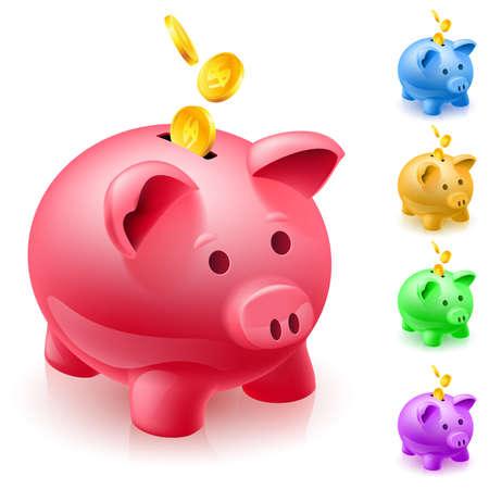 cerdo caricatura: Cinco colores alcancías. Ilustración del diseñador en el fondo blanco