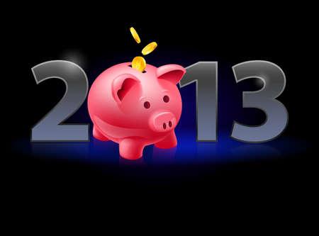 twenty thirteen: Twenty Thirteen Year. Piggy bank with coins. Illustration on black background