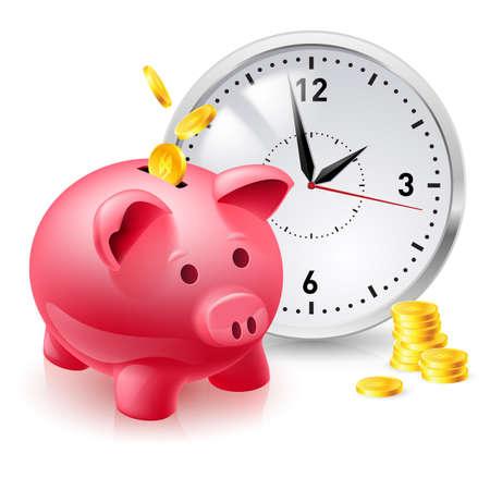 Rosa Schwein Bank mit Münzen und Uhr. Illustration des Designers auf weißem Hintergrund