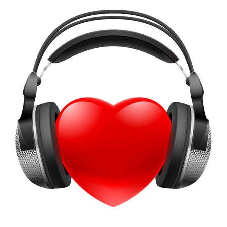 Corazón rojo con los auriculares. Música concepto. Ilustración en blanco