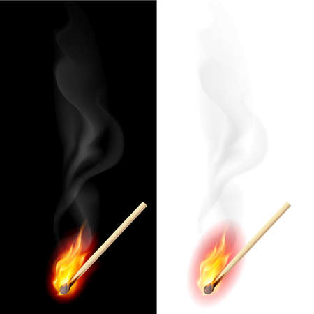 glow stick: Realistic burning match. Illustration on white and black background