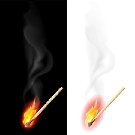lighter: Realistic burning match. Illustration on white and black background