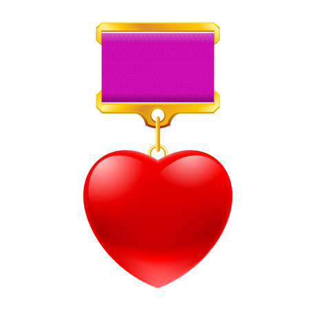 Medal in the shape of heart. illustration on white background Vector