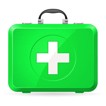 first aid box: Green First Aid kit. Illustration on white