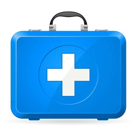 키트: 블루 응급 처치 키트입니다. 흰색에 그림 일러스트