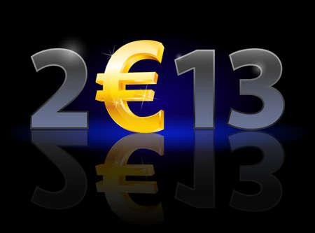 twenty thirteen: Twenty Thirteen Year. Euro sign. Illustration on black background