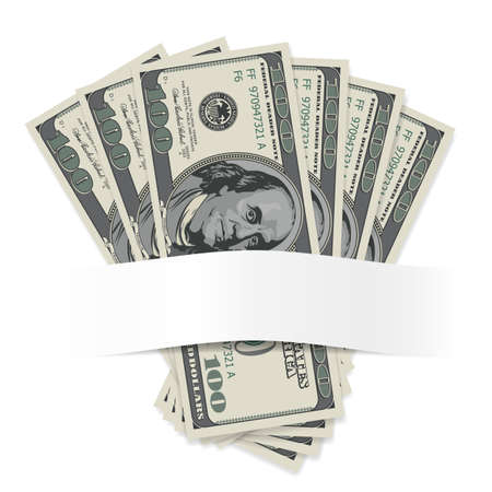 one hundred dollar bill: Dollars on a white background. Illustration for design