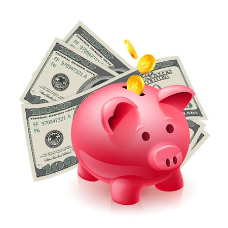 moneybox: Moneybox - pig and dollars. Illustration on white Illustration