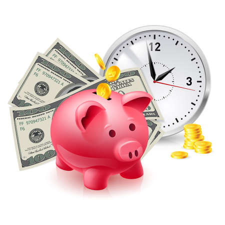 Time is money. Pig moneybox and money with Office Clock Stock Vector - 16955066