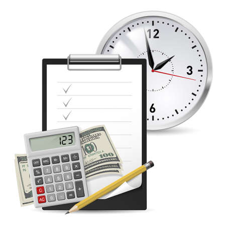 Dollars, Note and Pen, Classic Office Clock and Calculator Stock Vector - 16955014