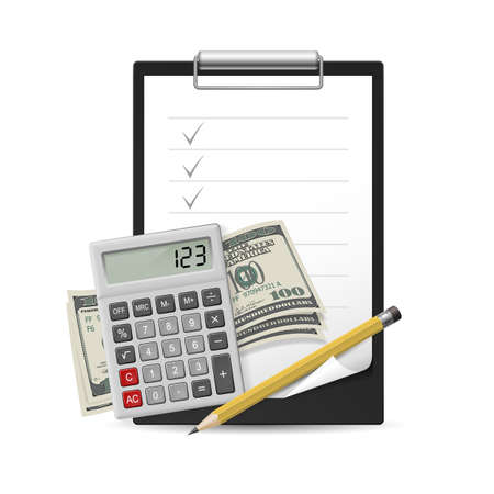 Dollars, Note, Pen and Calculator on a white background Stock Vector - 16955010