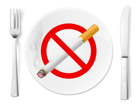 The sign No Smoking on a plate with fork and knife Stock Vector - 16954706