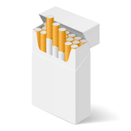 cigarette pack: White Pack of cigarettes isolated on white background