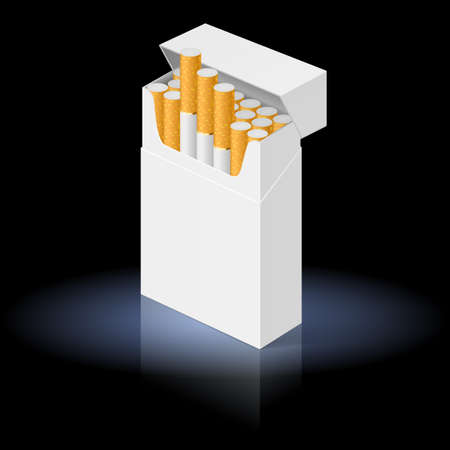 cigarette pack: White Pack of cigarettes isolated on black