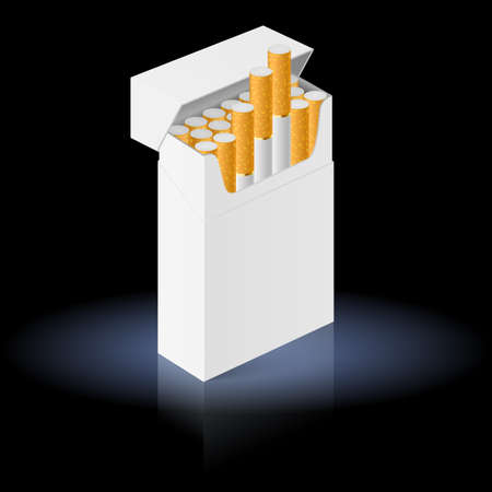 White Pack of cigarettes isolated on black background Stock Vector - 16955061
